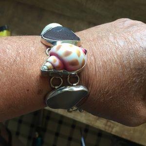 NEW Charles Albert SS Shell & Sea Glass Bracelet